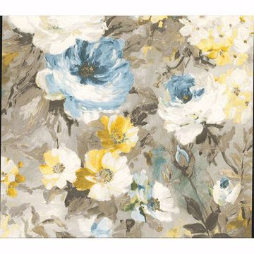 Picture of Macau Blue Painterly Floral Wallpaper