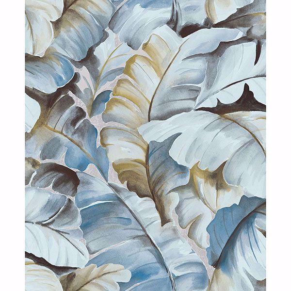 Picture of Mardan Light Blue Banana Leaf Wallpaper