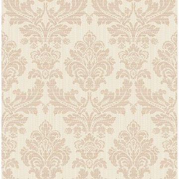 Picture of Piers Rose Gold Texture Damask Wallpaper