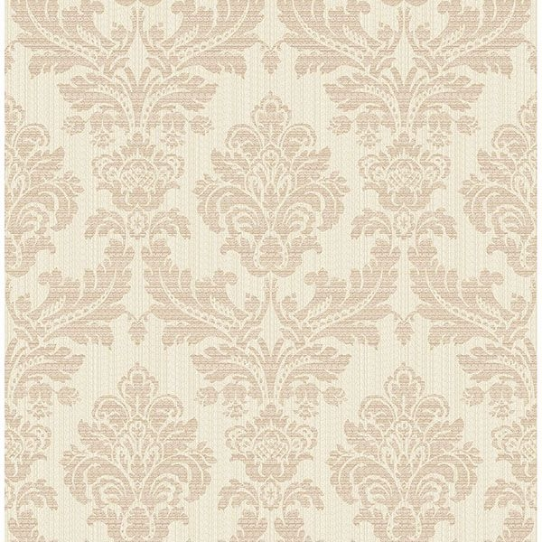 Piers Rose Gold Texture Damask Wallpaper