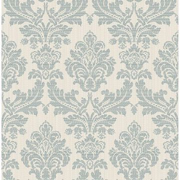 Picture of Piers Teal Texture Damask Wallpaper