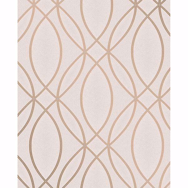 Picture of Lisandro Rose Gold Geometric Lattice Wallpaper