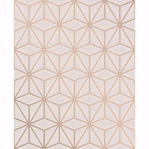 Picture of Augustin Rose Gold Geometric Wallpaper