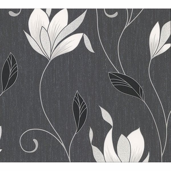 Picture of Anais Charcoal Floral Trails Wallpaper
