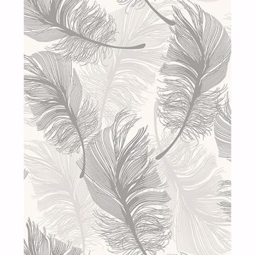 Picture of Clemente Light Grey Foil Feather Wallpaper