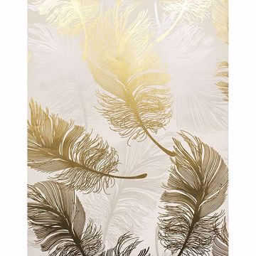 Picture of Clemente Gold Foil Feather Wallpaper