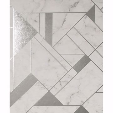 Picture of Gulliver Silver Marble Geometric Wallpaper