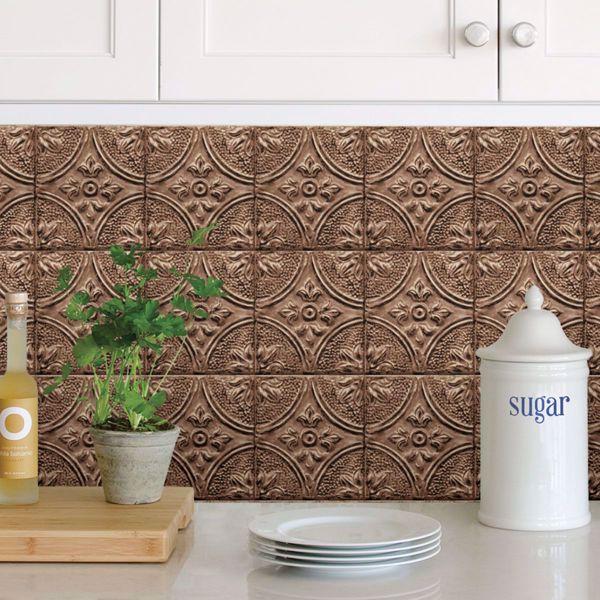 Picture of Copper Tin Tile Peel and Stick Backsplash