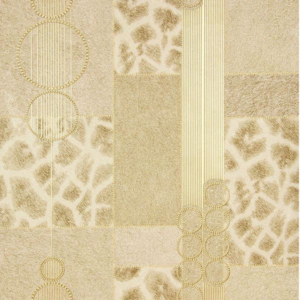 Picture of Serengeti Champagne Patchwork Wallpaper