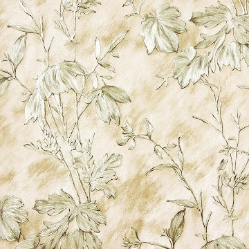 Picture of Portofino Beige Cow Leaves Wallpaper
