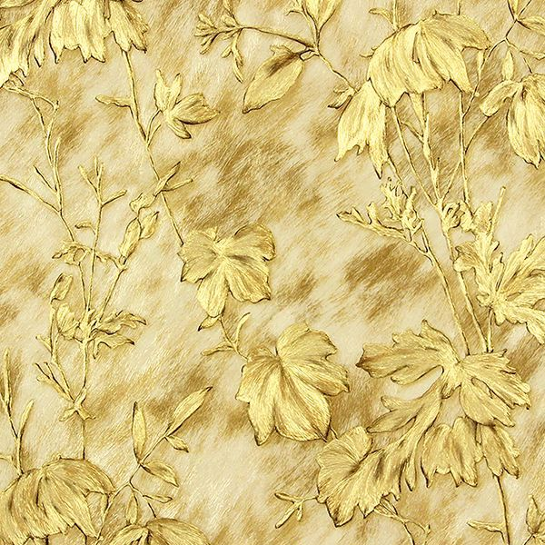 Picture of Portofino Gold Cow Leaves Wallpaper
