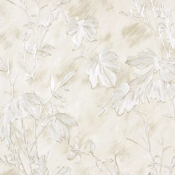 Picture of Portofino Off-White Cow Leaves Wallpaper