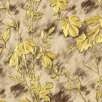 Picture of Portofino Light Brown Cow Leaves Wallpaper