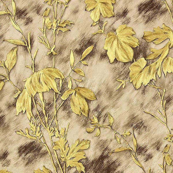 Picture of Portofino Light Brown Cow Leaves Wallpaper