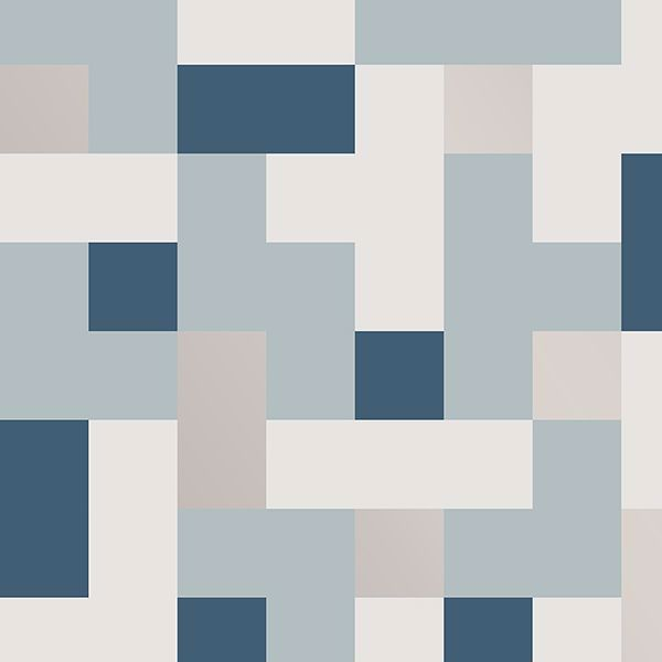 Picture of Alby Blue Geometric Wallpaper