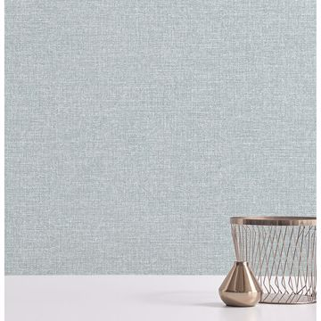Picture of Asa Teal Linen Texture Wallpaper