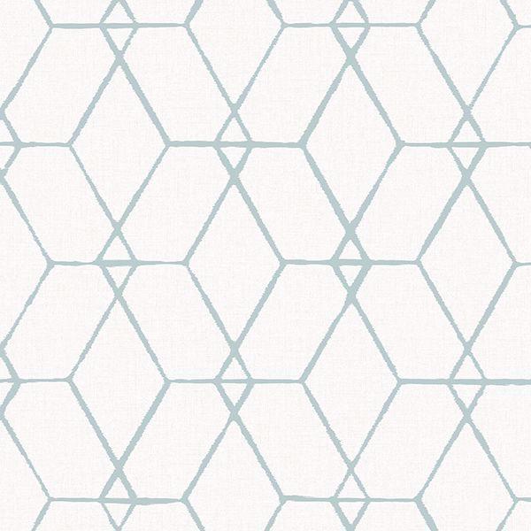 Picture of Osterlen Teal Trellis Wallpaper
