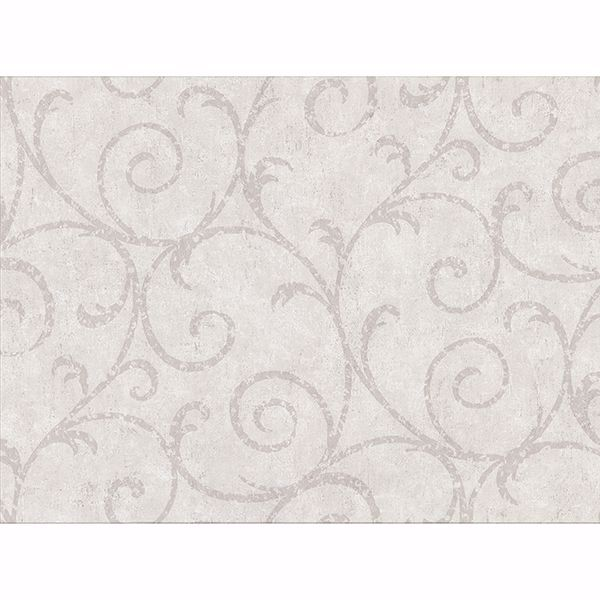 Picture of Sansa Light Grey Plaster Scroll Wallpaper