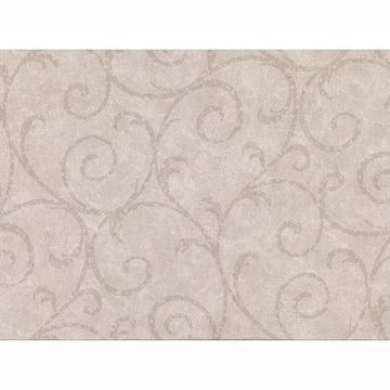 Picture of Sansa Khaki Plaster Scroll Wallpaper