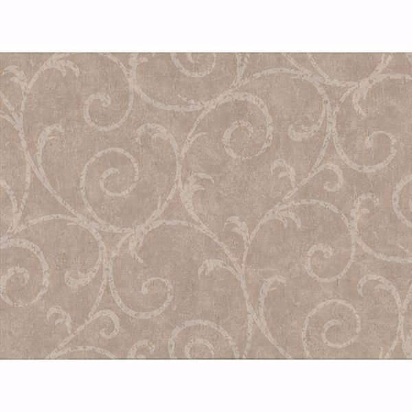 Picture of Sansa Light Brown Plaster Scroll Wallpaper