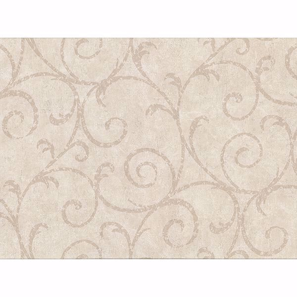 Picture of Sansa Beige Plaster Scroll Wallpaper