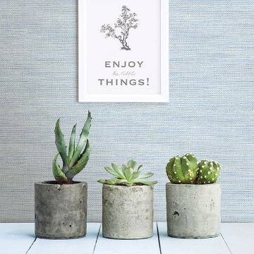 Picture of Agave Bliss Sky Blue Faux Grasscloth Wallpaper