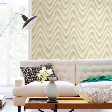 Picture of Bargello Yellow Faux Grasscloth Wave Wallpaper