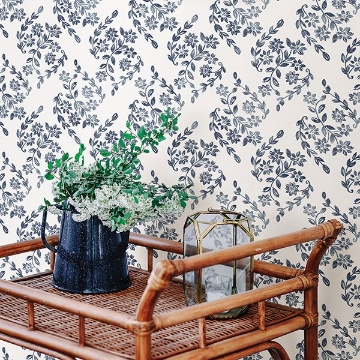 Picture of Arabesque Blue Floral Trail Wallpaper