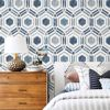 Picture of Borneo Blue Geometric Grasscloth Wallpaper