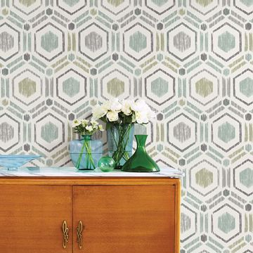 Picture of Borneo Light Green Geometric Grasscloth Wallpaper