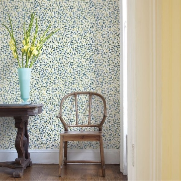 Picture of Giverny Blue Miniature Floral Wallpaper