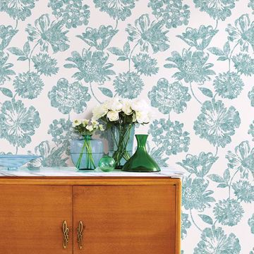 Picture of Folia Aqua Floral Wallpaper