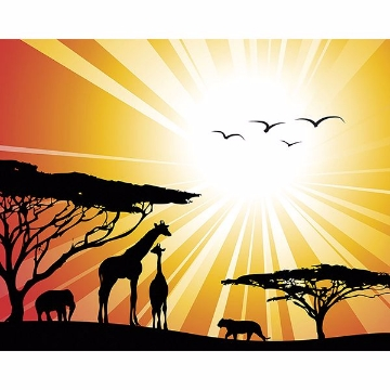 Picture of Sunset Safari Wall Mural