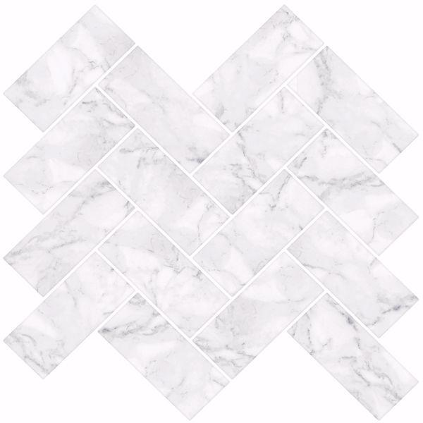 Picture of Herringbone Carrara Peel & Stick Backsplash Tiles - View