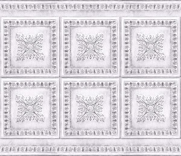 Picture of Ornamental Tin White Peel & Stick Backsplash Film - View