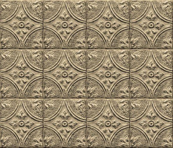 Picture of Restored Tile Brass Peel & Stick Backsplash Film - View