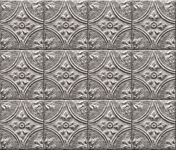 Picture of Restored Tile Silver Peel & Stick Backsplash Film - View