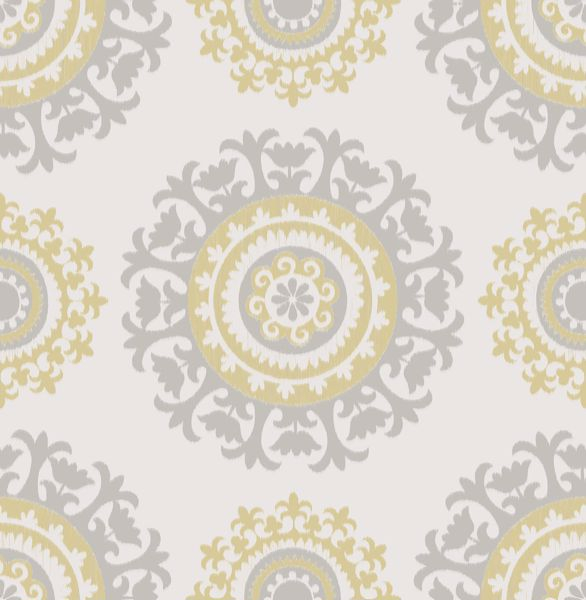 Picture of Grey and Yellow Suzani Peel & Stick Wallpaper - View