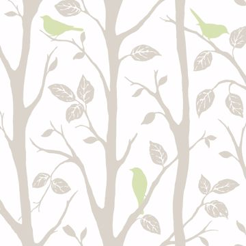 Picture of Grey and Green Sitting In A Tree Peel & Stick Wallpaper - View