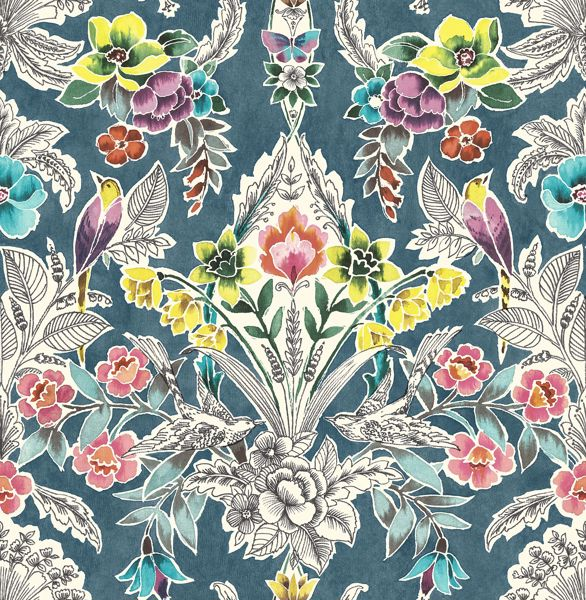 Picture of Summer Love Teal Peel & Stick Wallpaper - View