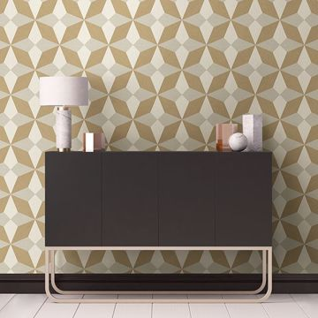 Picture of Valiant Beige Faux Grasscloth Geometric Wallpaper