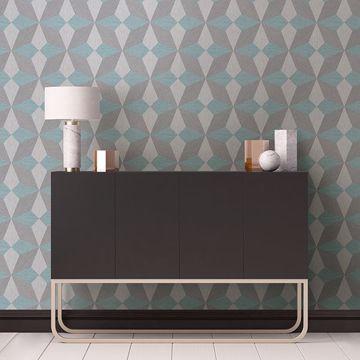 Picture of Valiant Aqua Faux Grasscloth Geometric Wallpaper