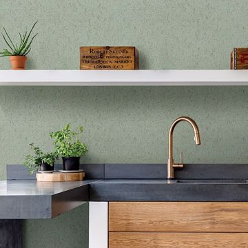 Picture of Guri Green Faux Concrete Wallpaper