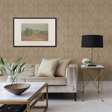 Picture of Intrinsic Light Brown Geometric Wood Wallpaper