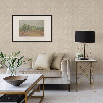 Picture of Intrinsic Cream Geometric Wood Wallpaper