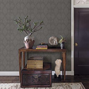 Picture of Intrinsic Dark Grey Geometric Wood Wallpaper