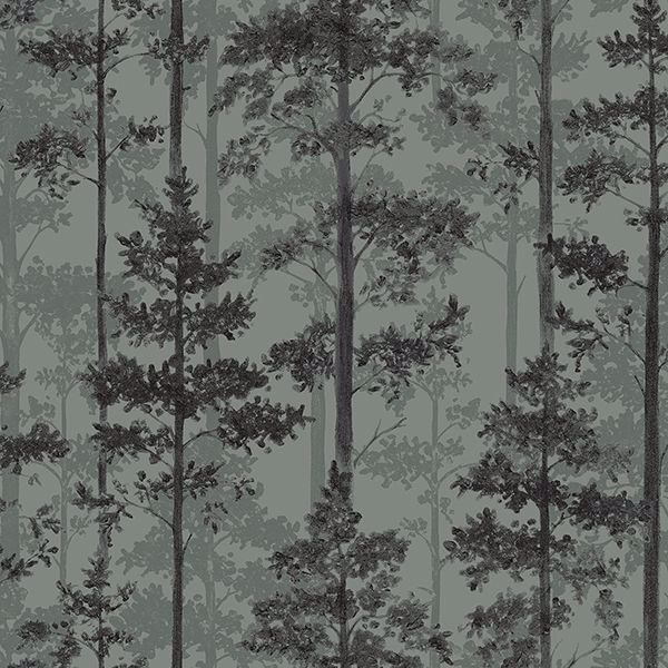 Picture of Pine Sage Silhouette Trees Wallpaper