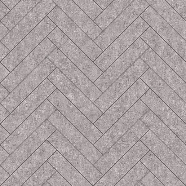 Picture of Raw Tiles Light Grey Herringbone Concrete Wallpaper
