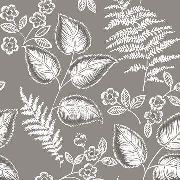 Picture of Grey Foliage Peel and Stick Wallpaper