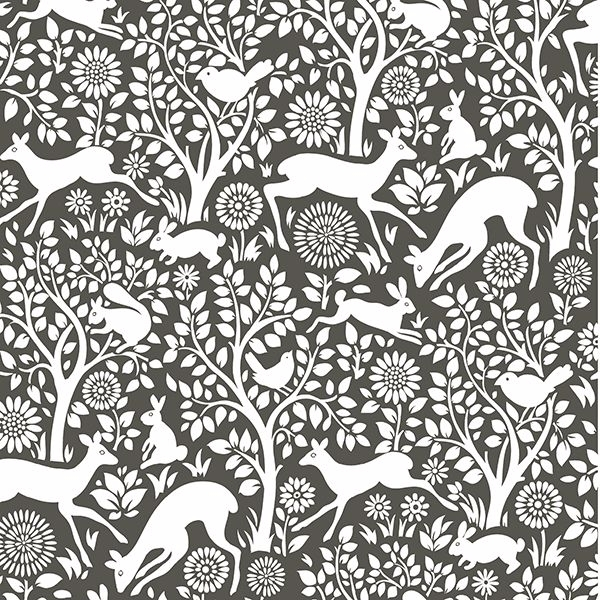 Picture of Charcoal Merriment Peel and Stick Wallpaper